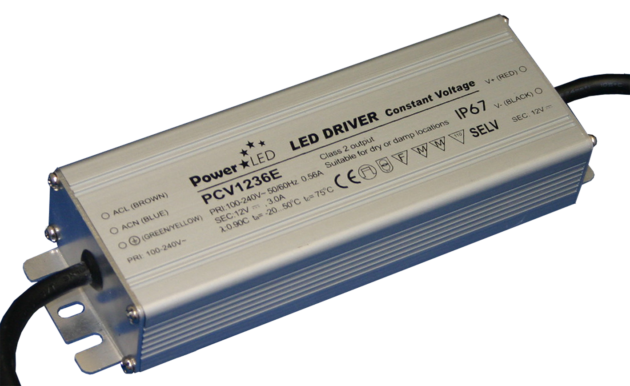36W 12V 3A IP67 Rated Constant Voltage LED Lighting Power Supply - PCV1236E