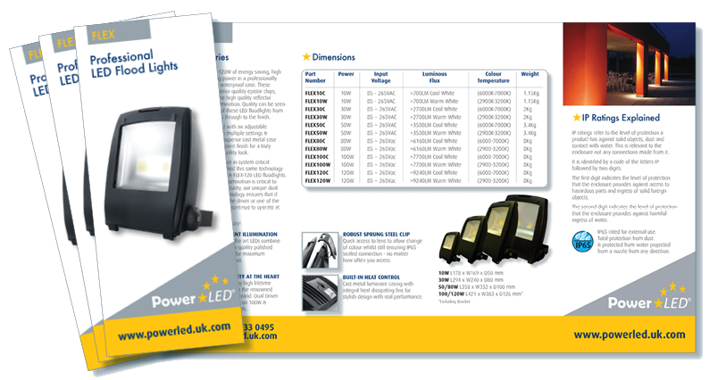 PowerLED - Professional LED Floodlights Gatefold Leaflet