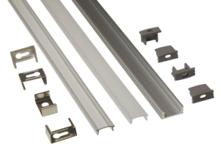 EXT2 - 15mm Deep Profile Surface Mounted Flexi Strip Aluminium Extrusion from PowerLED