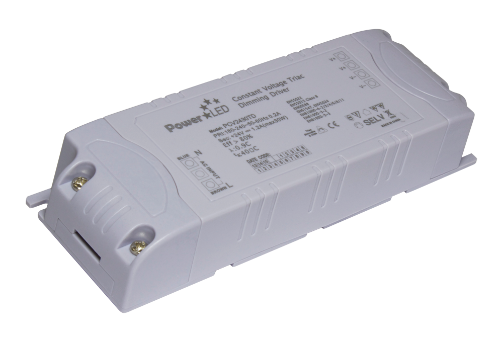 PCV30TD Series - 24W & 28.8W Triac Dimming Constant Voltage LED Lighting Power Supplies