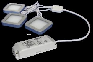 TRIO-3SS30K 3pc 3W Silver Square 3000K LED Light Kit
