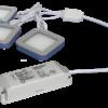 TRIO-3SB60K-TD 3pc 3W Triac Dimmable Black Square 6000K LED Light Kit