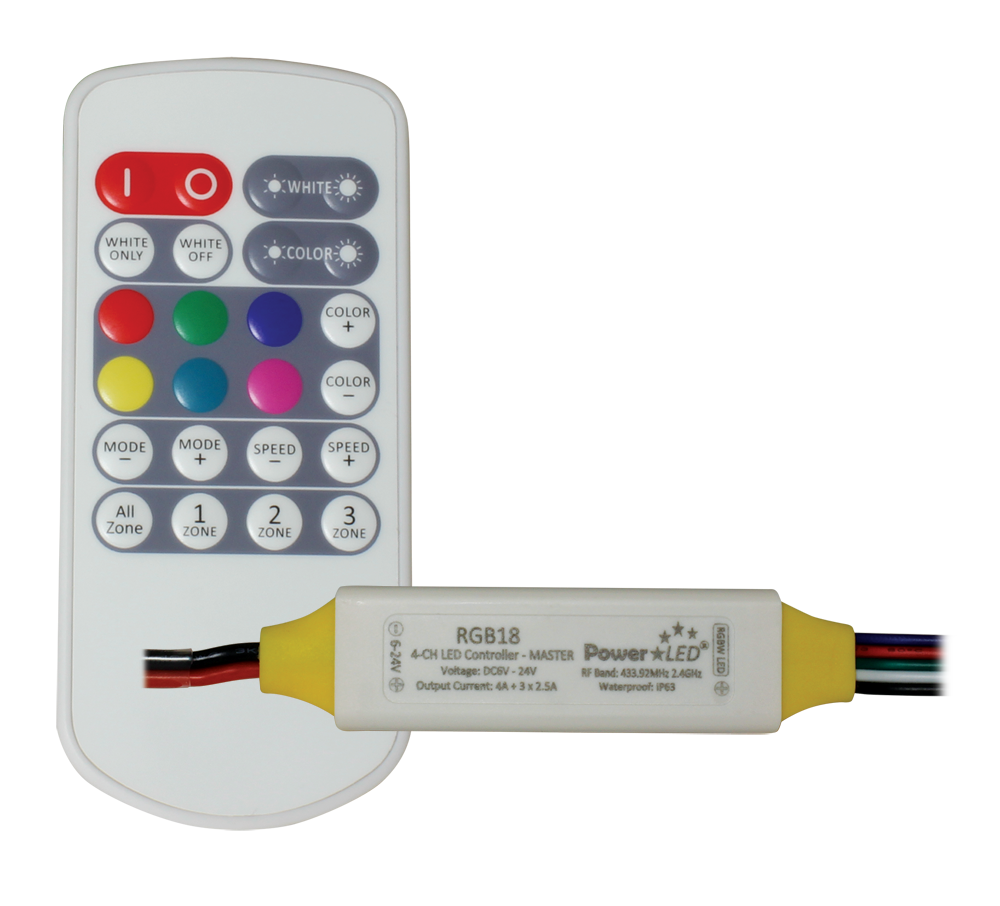 Rgb18 Professional Rf Wireless Rgbw Led Controller Kit Uk Wiring Colours White