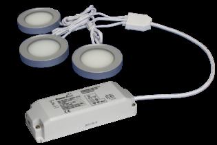 TRIO-3RS30K-TD 3pc Triac Dimmable 3W Silver Round 3000K LED Light Kit