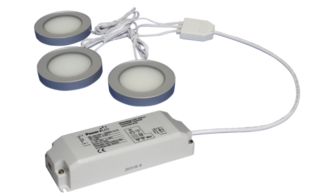 TRIO-3RS30K-TD 3pc Triac Dimmable 3W Silver Round 3000K LED Light Kit