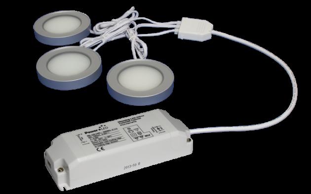 TRIO-3SS30K-TD 3pc 3W Triac Dimmable Silver Square 3000K LED Light Kit