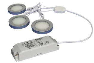 TRIO-3RS60K-TD 3pc 3W Triac Dimmable Silver Round 6000K LED Light Kit