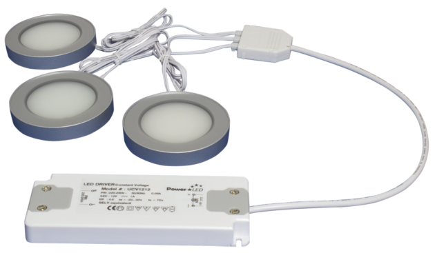TRIO-3RW30K-TD 3pc Triac Dimmable 3W White Round 3000K LED Light Kit