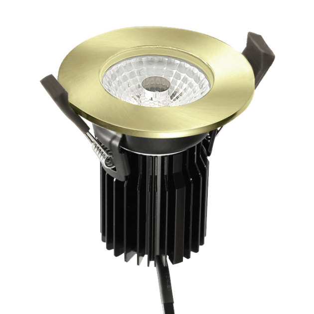 FRZ-10 Fire Rated LED Downlight with FRZ10-BEZEL-BR Brass Bezel from PowerLed