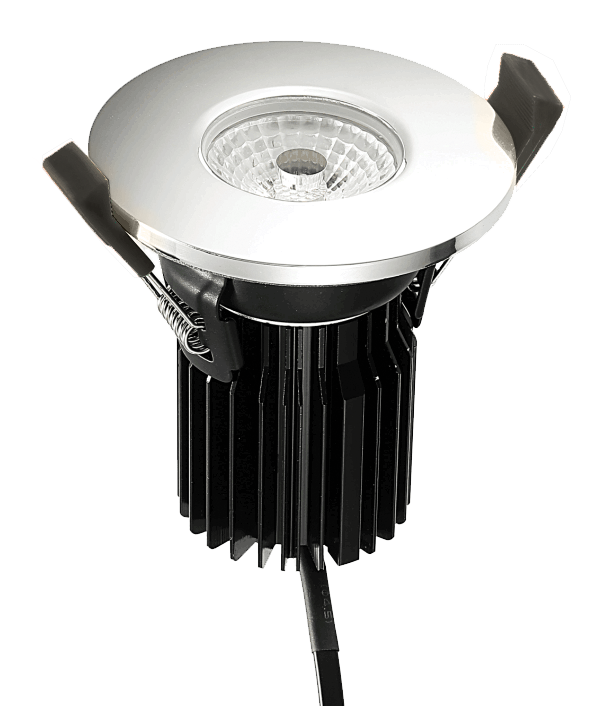 FRZ-10 Fire Rated LED Downlight with FRZ10-BEZEL-PC Polished Chrome Bezel from PowerLed