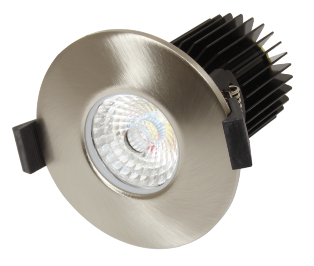 FRZ-10 Fire Rated LED Downlight with FRZ10-BEZEL-SN Satin Nickel Bezel from PowerLed