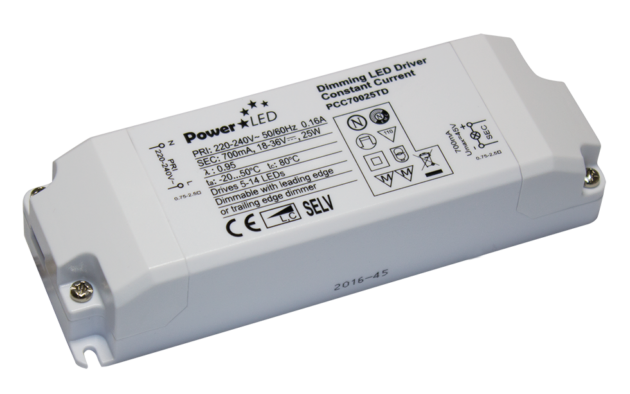 25.2W 16V-24V 1050mA Triac Dimming Non IP Rated Constant Current LED Lighting Power Supply