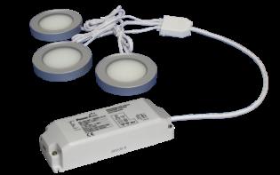 TRIO-3RS60K-TD 3pc 3W Triac Dimmable Silver Round 6000K LED Light Kit