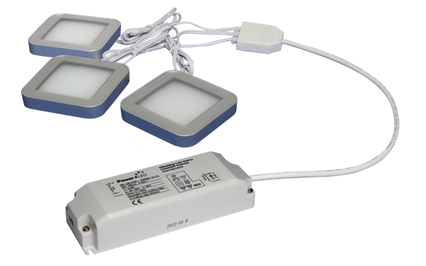 TRIO-3SB60K 3pc 3W Black Square 6000K LED Light Kit